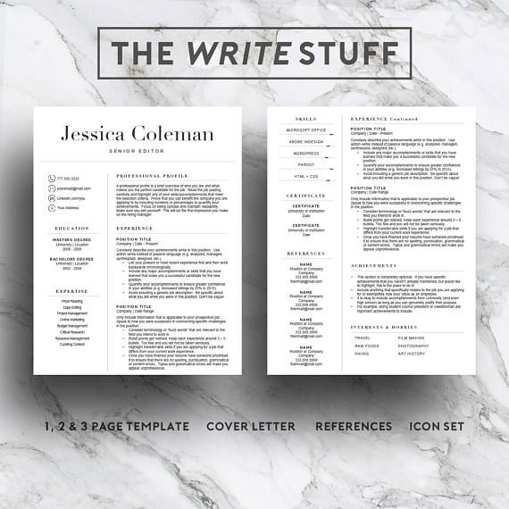 Simple resume template for Word \ Pages (1, 2 and 3 page resume - how to write a cover page for a resume