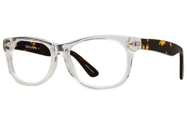 24be2d9176b Eight to Eighty Eyewear s Parker is a chunky square crystal and  tortoiseshell frame made of Italian zyl.