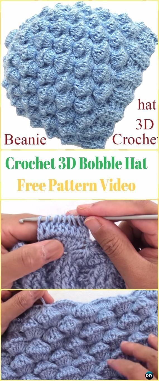 Crochet 3D Bobble Hat Free Pattern Video - Crochet Beanie Hat Free ...