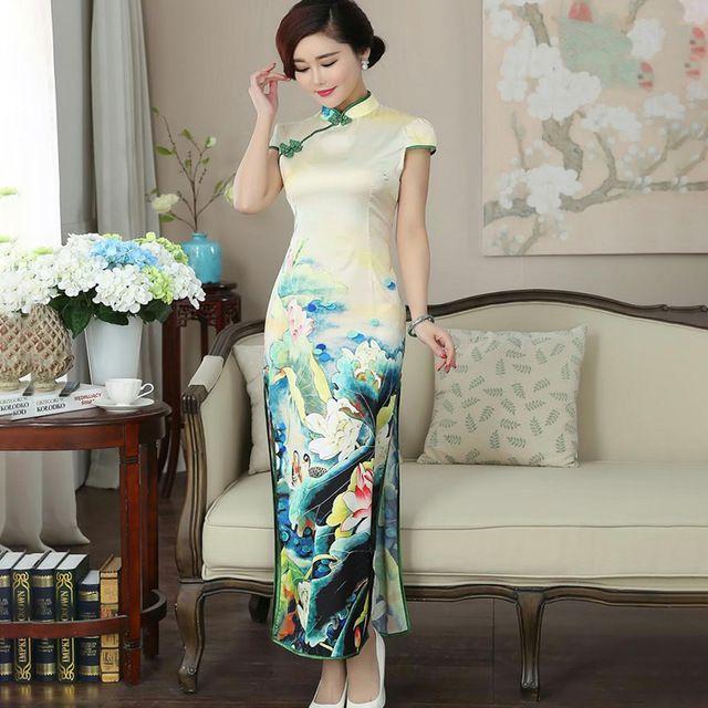 ef5645f3b Fasbys Modern Chinese Dress Qipao Long Stretch Cheongsam China Party Dresses  Oriental Robe Femme Chinoise Flower Qi Pao Banquet