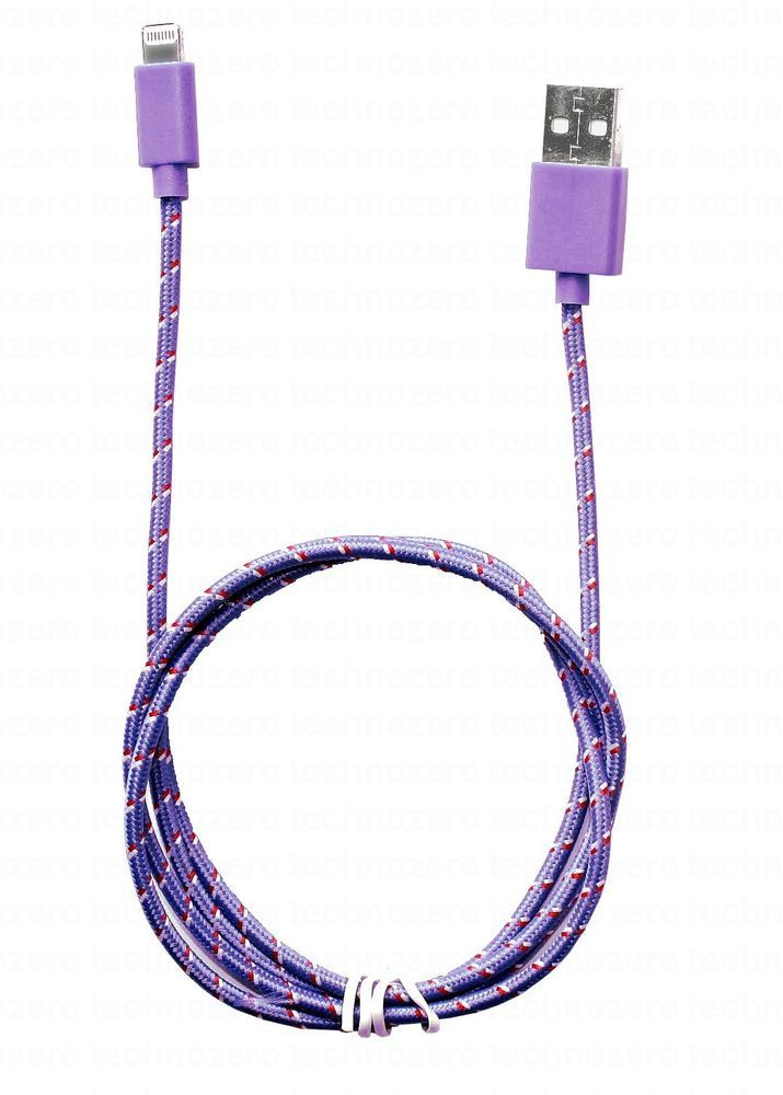 Tnz Violet iPad Mini charger cable Tablet Mp3 Phone iPhone Lightning Nylon Cord
