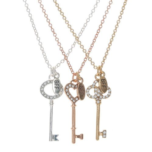 marca popular amplia gama nueva llegada Set of 3 Best Friends Forever Key Charm Necklaces | Claire's ...