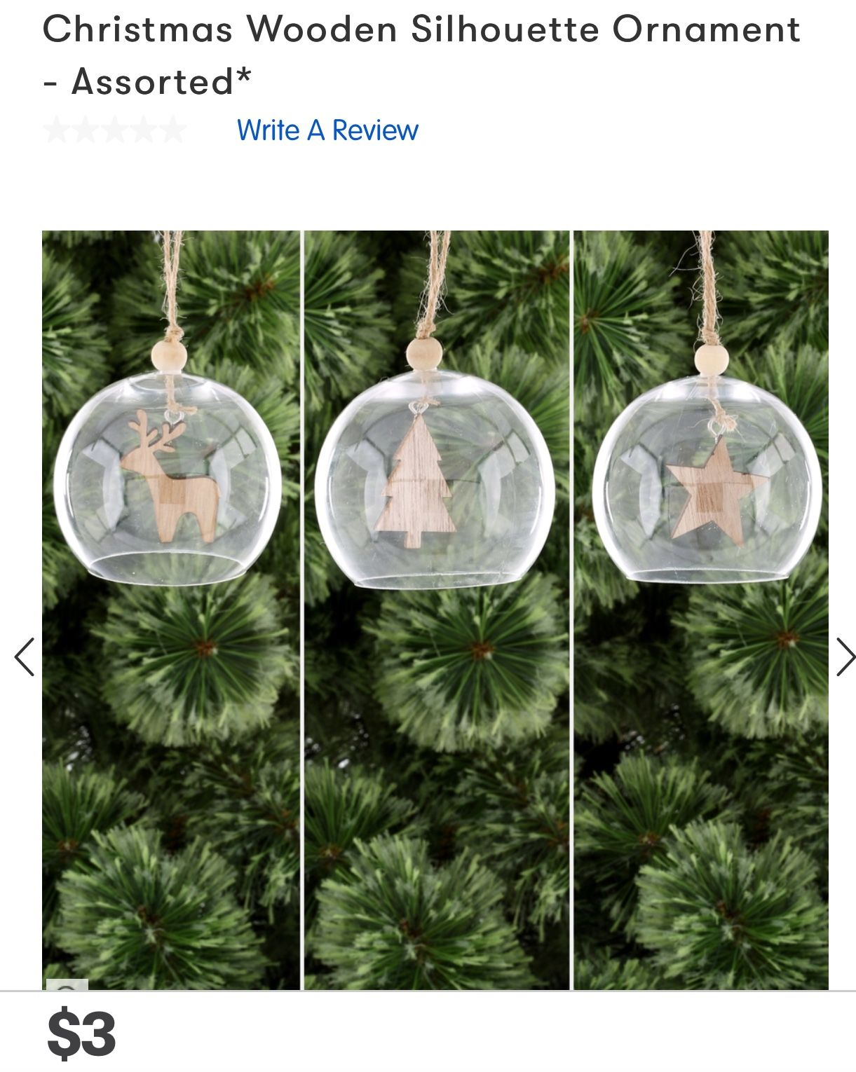 Big W | Wooden Silhouette Ornament Assorted $3 | Christmas