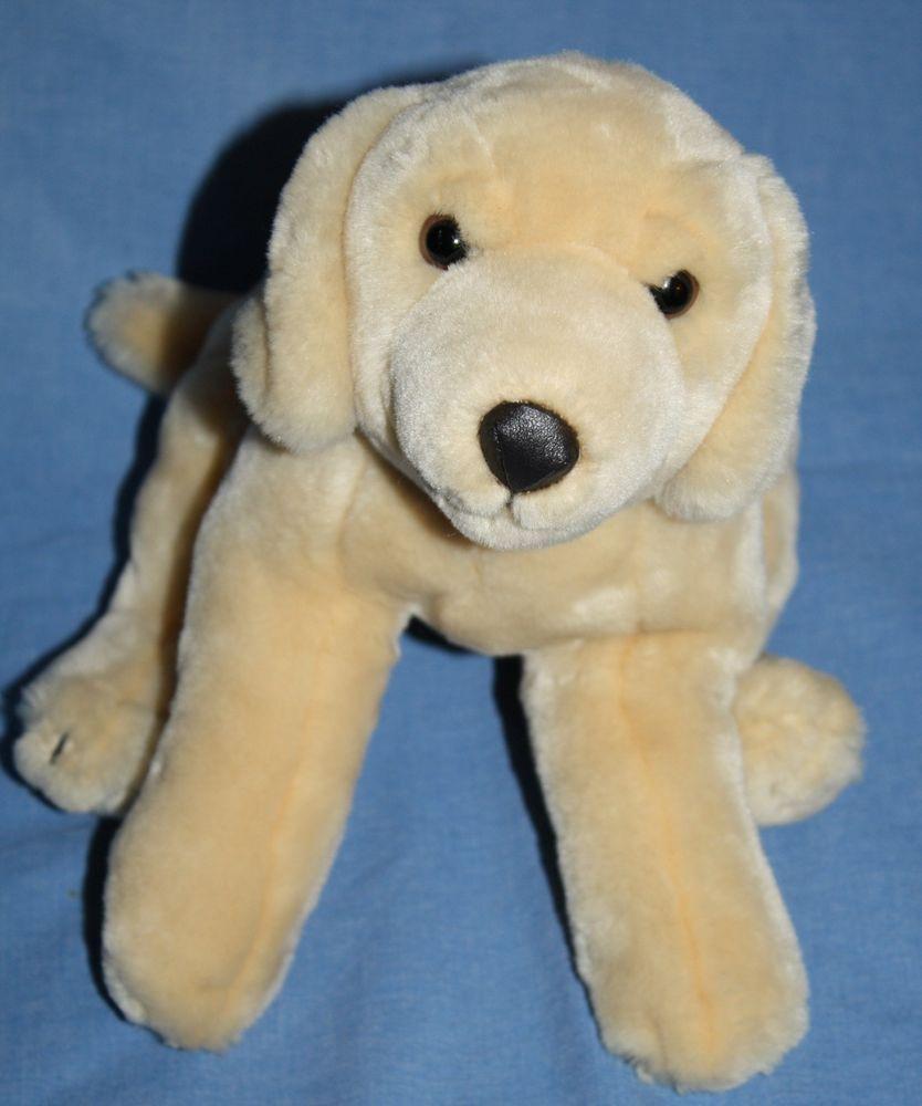Animal Alley Tan Golden Lab Dog Plush Stuffed Animal Toy Black Vinyl