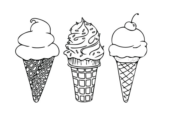 PRINTABLE COLORING SHEET Instant Download Ice Cream by