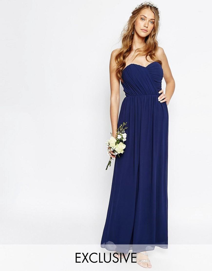 Tfnc tfnc wedding bandeau chiffon maxi dress at asos wedding