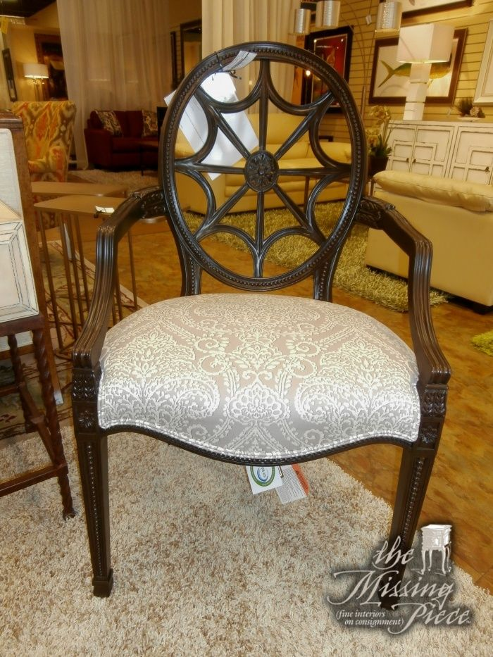 Elegant Gorgeous, Ethan Allen Spider Back Arm Chair In Black With Silver Gray And  Cream Seating. Measures 25x41x26. Retails Currently For $985.