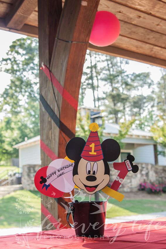 Mickey Mouse themed decorations for a birthday party or special
