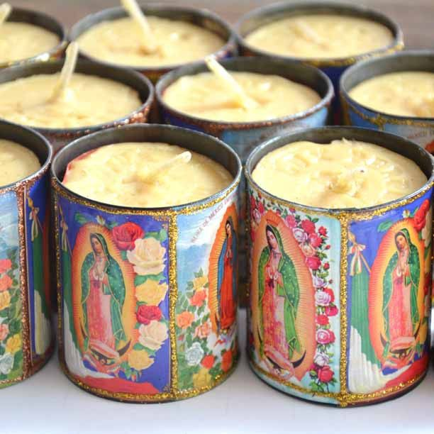 Mexican Virgin Tin Candles