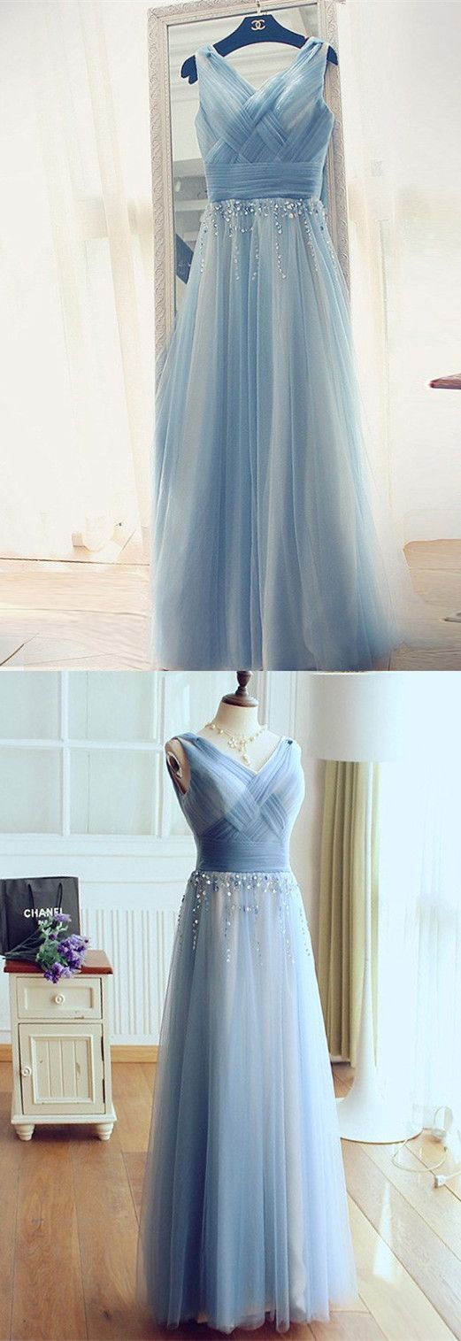 Princess aline blue long tulle prom dress evening dress prom