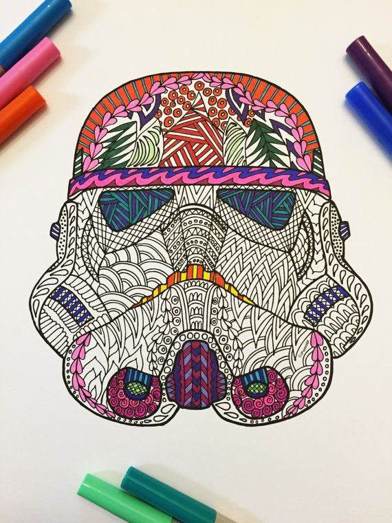 Storm Trooper Helmet PDF Zentangle Coloring Page por DJPenscript ...
