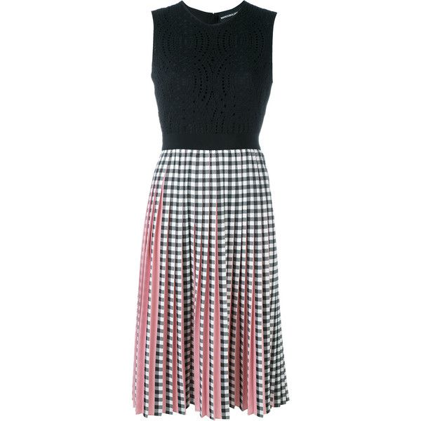 Marco Bologna gingham dress (16.015 ARS) ❤ liked on Polyvore featuring dresses, black, gingham dress and gingham print dress