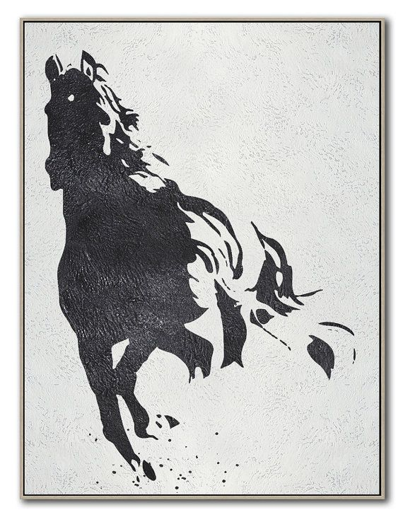 0b44d92d343 Black White Horse Hand Made Extra Large Canvas by CelineZiangArt ...