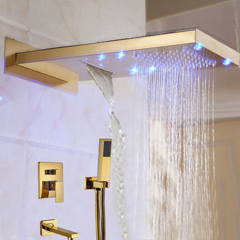 Wholesale And Retail LED Colors Waterfall Rain Shower Head Faucet 3 ...