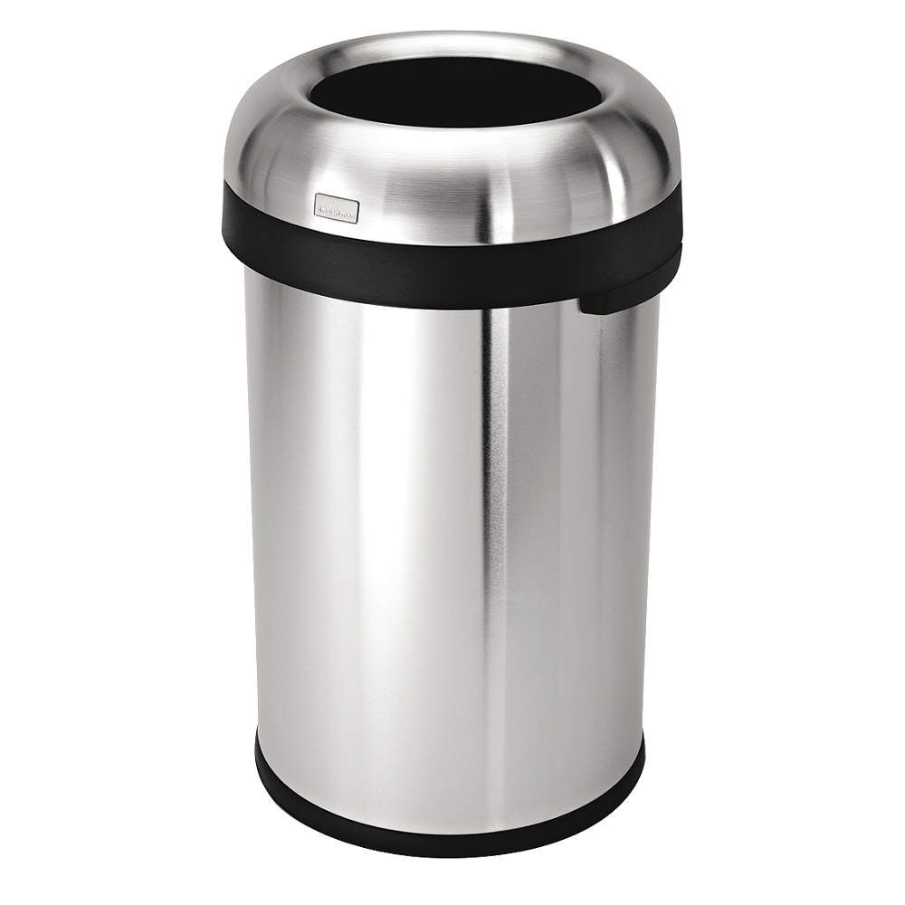 round stainless steel open top trash can indoor trash cans - Industrial Trash Cans