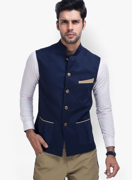 1087a0dda Buy Mr Button Solid Blue Ethnic Jacket for Men Online India