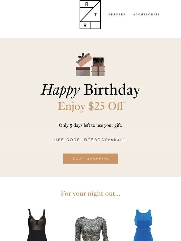 birthday coupon rent the runway