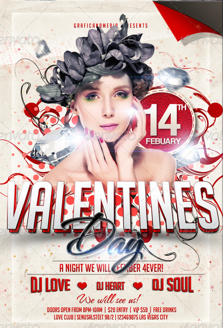 Open Your Love Heart In Front Of Your Valentine, Here Is Special Valentines  Day Flyer Templates To Host A Valentines Day Night Party.