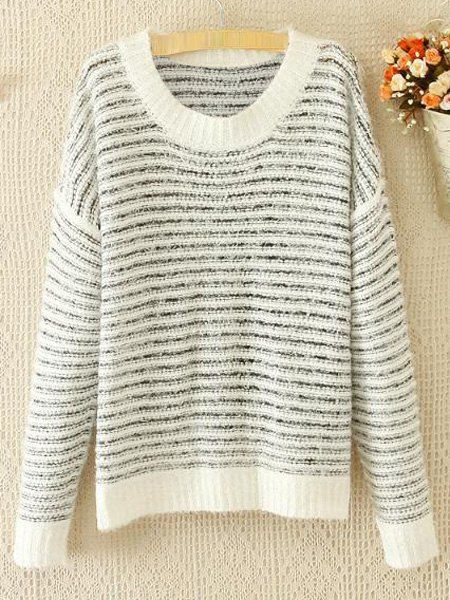 Casual Style Round Collar Striped Knited Long Sleeve Women's Sweater