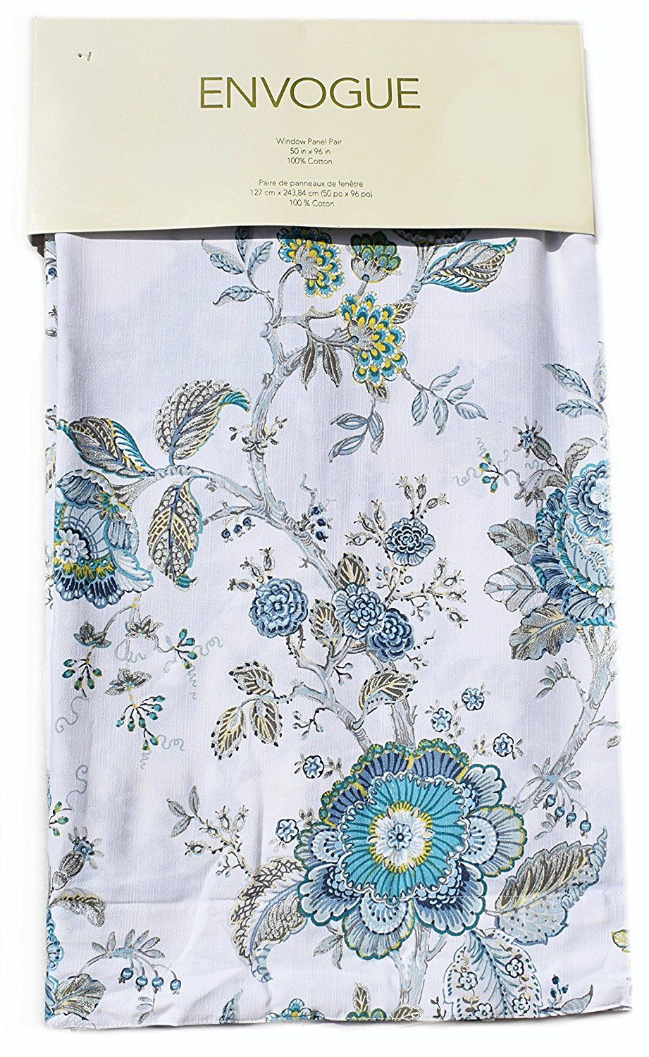 Amazon Envogue Window Curtains Turquoise Exotic Jacobean Flowers Border Print Leaves Floral Climbing