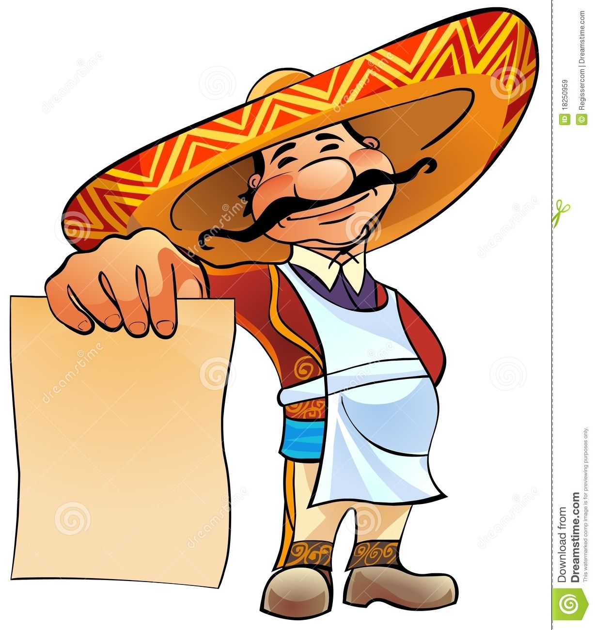 Mexican Cook With Menu. Royalty Free Stock Images Image