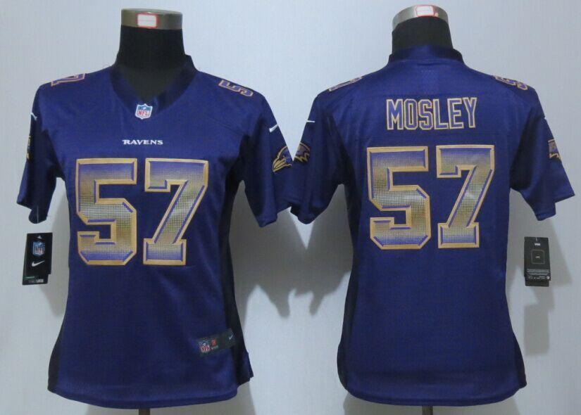 Womens Baltimore Ravens 57 Mosley Purple Strobe New Nike Elite Jersey 1588f18d0