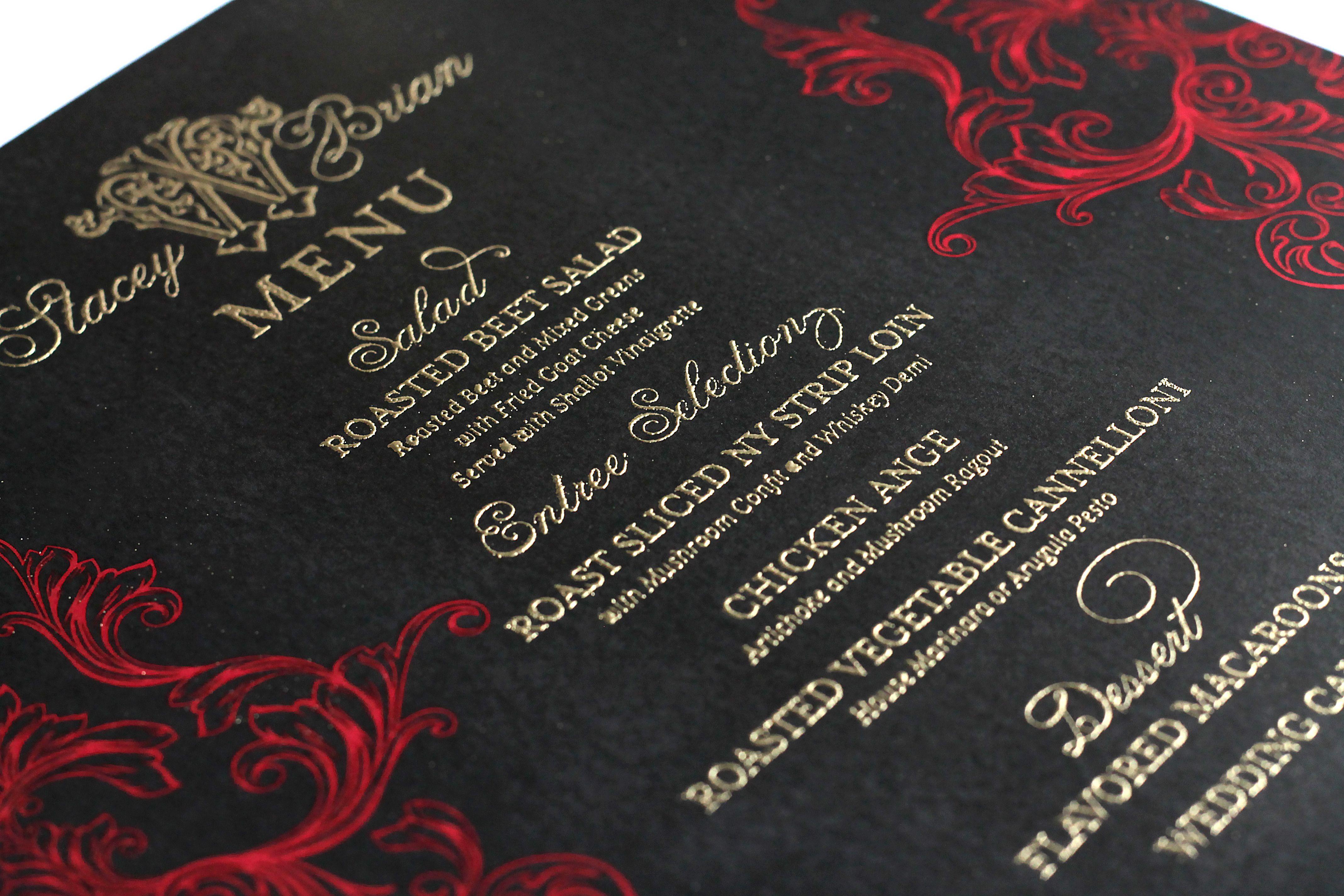 Black, red & gold romantic flourish wedding menu. http ...