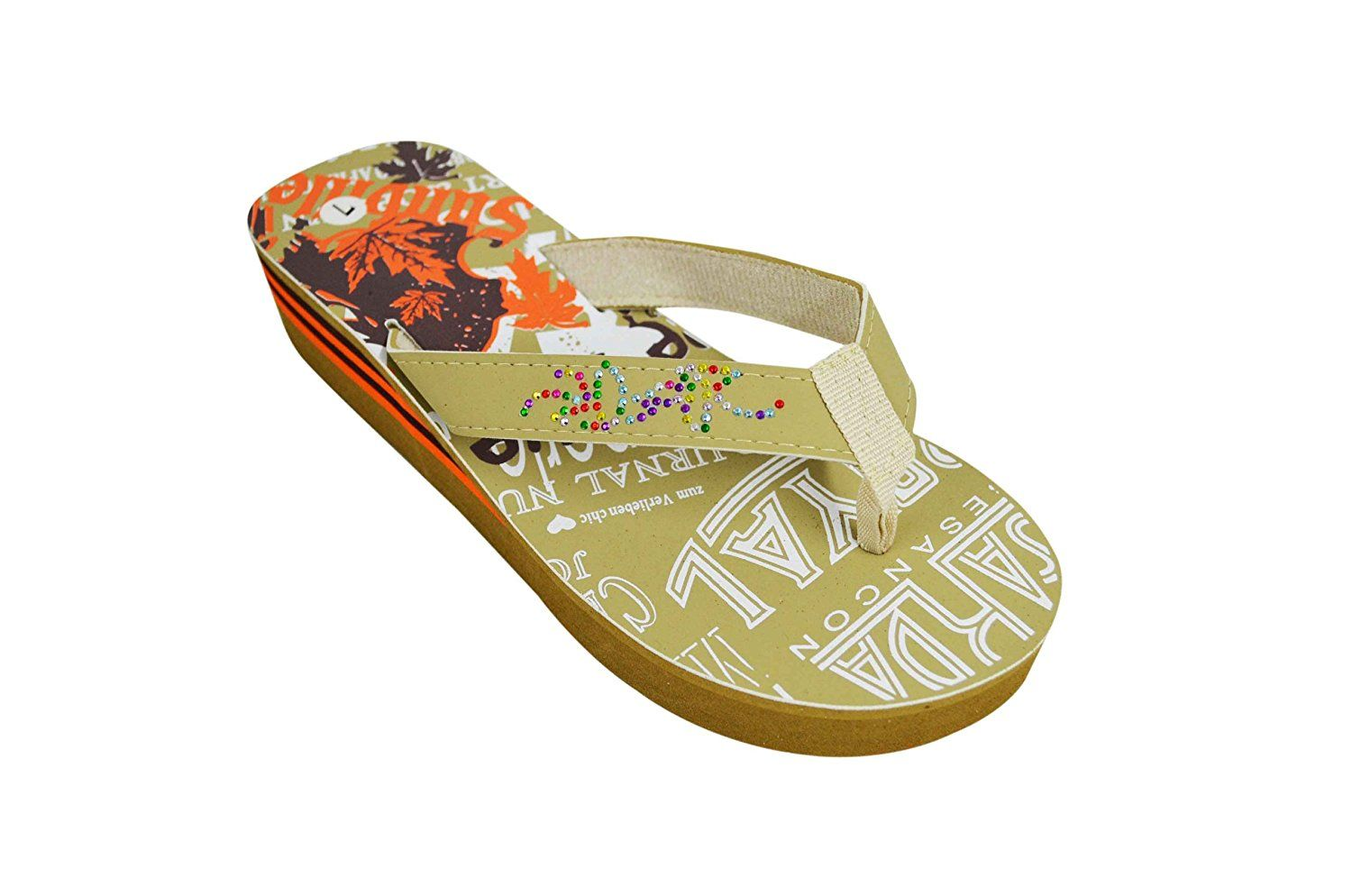 Sunville Women's Stylish Embellished Colorful Printed Wedge Beach Vocation Flip Flop Sandals 2336 -- You can get additional details at the image link.