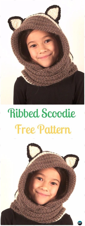 Crochet Ribbed Scoodie Free Pattern - Crochet Hoodie Scarf Free ...