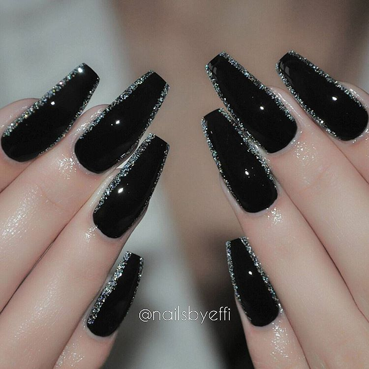Efh 8eodwra On Instagram Black And Diamond Hudabeauty Hudabeauty Nails Gel Silver Nail Designs Coffin Nails Designs Trendy Nails