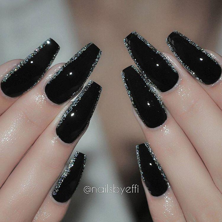 Efh 8eodwra On Instagram Black And Diamond Hudabeauty Hudabeauty Nails Gel Silver Nail Designs Coffin Nails Designs Silver Nails