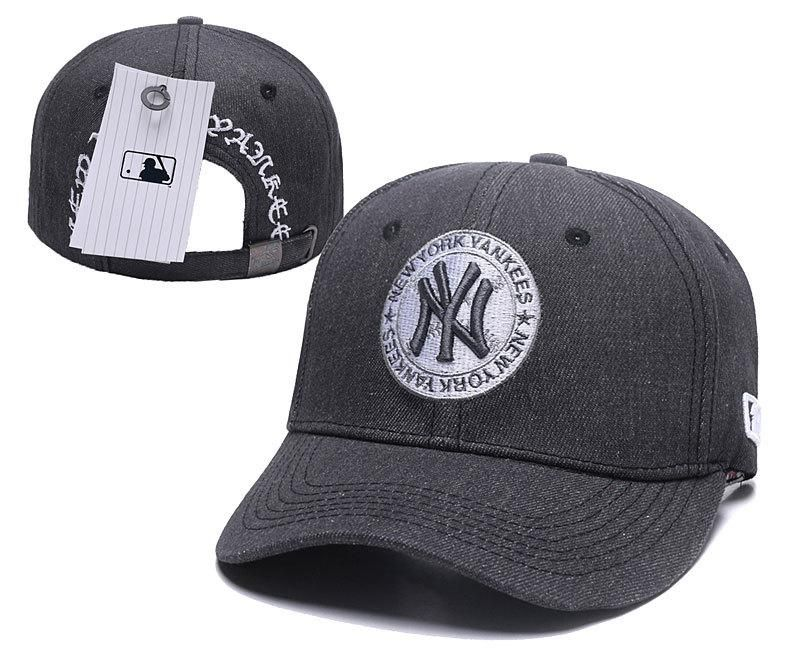 e326eba93cc Men s   Women s New York Yankees Classic NY Team Logo Circle Patch Curved  Dad Hat - Grey