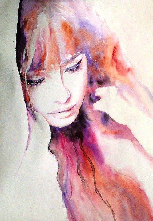 Portrait Frau Aquarell Watercolour Dipinti Arte Bella