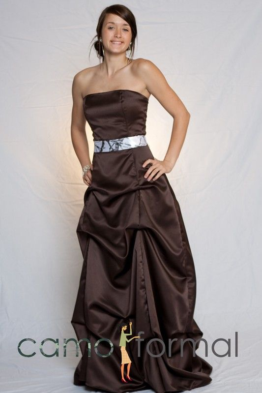 Wedding Dress With Camo Sash Camouflage Prom Homecoming Formals