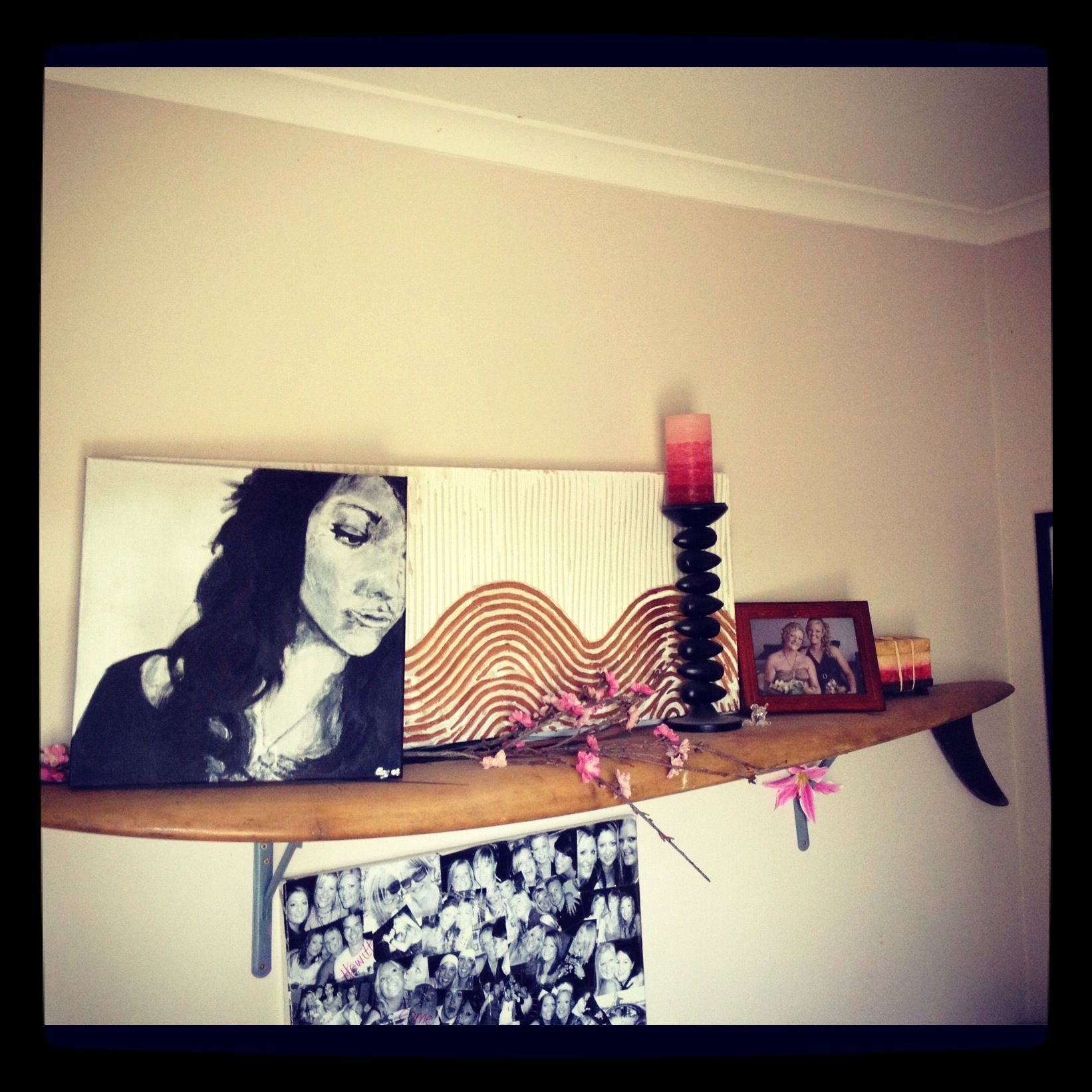 My DIY surfboard shelf. Need to use hidden brackets though ...