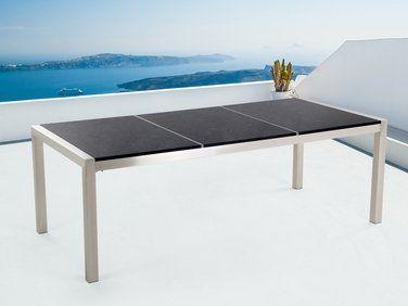 Table de jardin acier inox - plateau granit triple 220 cm noir poli ...