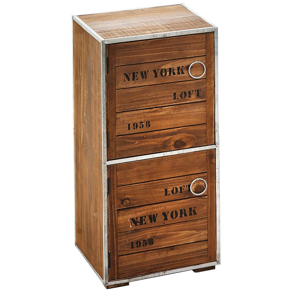 "Cupboard Cabinet ""New York Loft Style"" with 2 Doors wooden Storage NEW in Home, Furniture & DIY, Furniture, Cabinets & Cupboards 