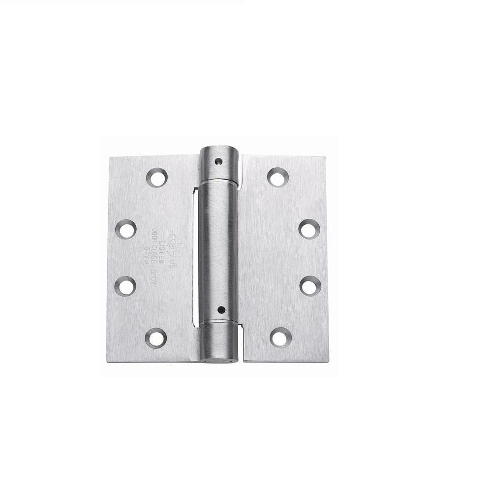 Global Door Controls 4 0 In X 4 0 In Satin Chrome Steel Spring Hinge Each Chrome Spring Hinge Home Depot