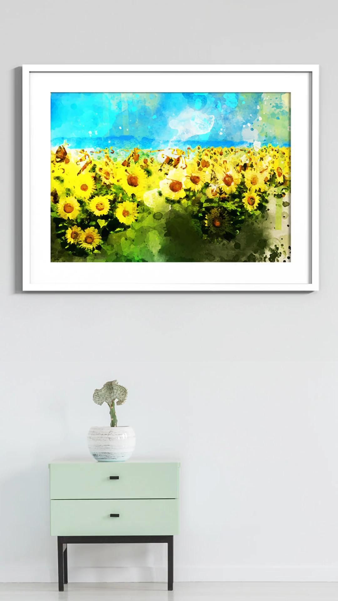 Fields of Sunflowers | Canvas Wall Art | Original Watercolor Painting for Home and Office Decor