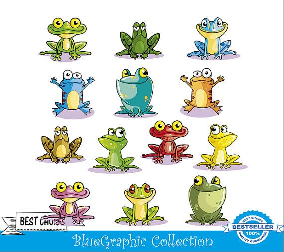 No 125 Frog Clipart Vector Instant Download Commercial And Personal Use Frog Art Frog Illustration Happy Paintings