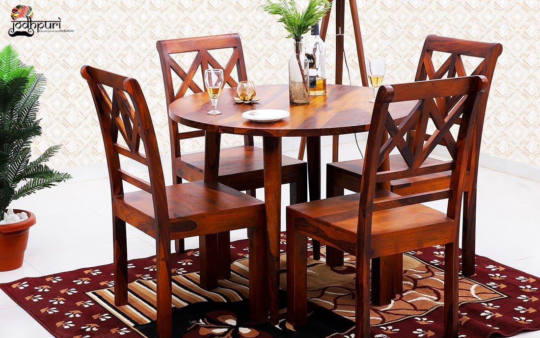 Jodhpuri Furniture Buy Camille Round Dining And Get Wide Range Of Discount On Wooden Furniture In 2020 Sheesham Wood Furniture Dining Sets Modern Round Dining