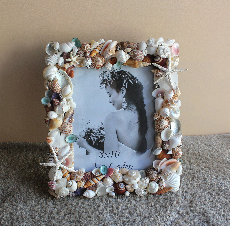 Beach decor seashell frame coastal nautical decor pearl