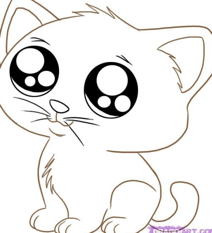 click to see printable version of kawaii chibi kitten coloring