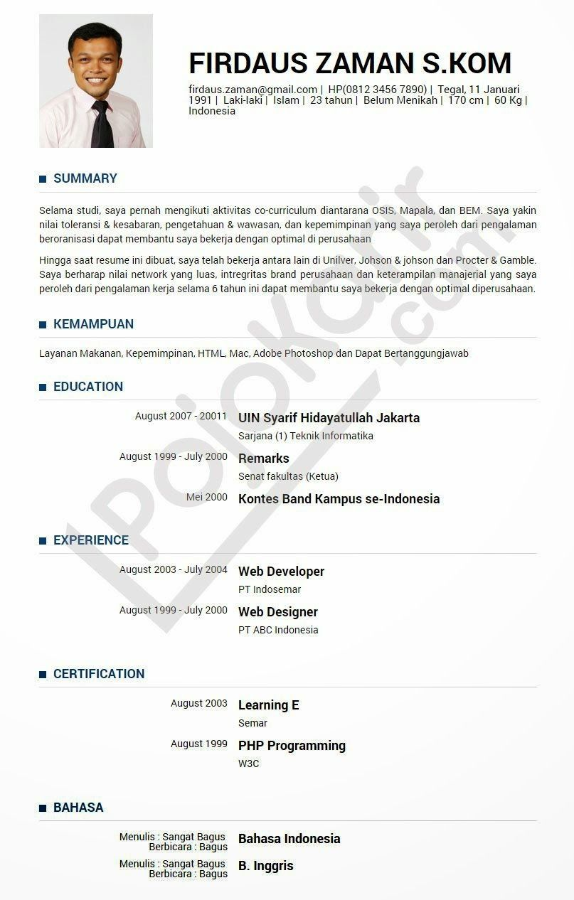 Pin By Sulih Murini On Cv Curriculum Vitae Student Resume Template Resume
