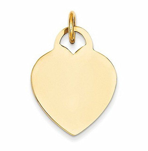 14K Yellow Gold Heart Disc Charm - http://www.specialdaysgift.com/14k-yellow-gold-heart-disc-charm/