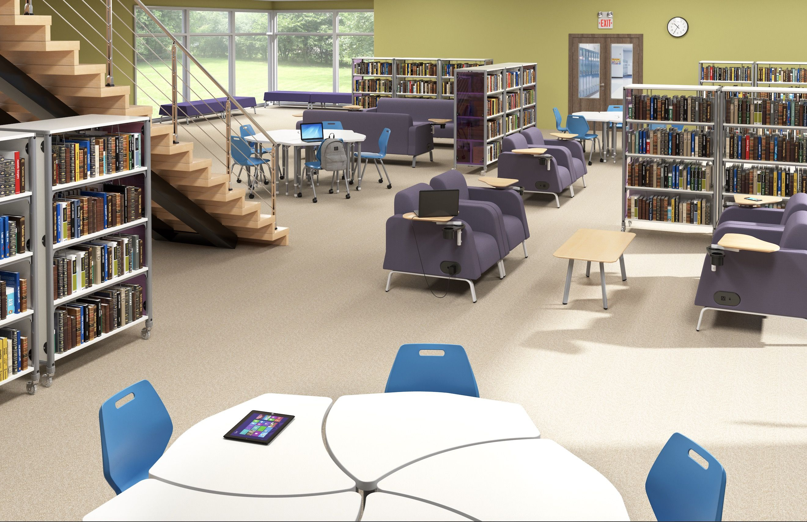 Paragon Library   Information Commons, Motiv Soft Seating And Au0026D Ready  Chairs   Modern School