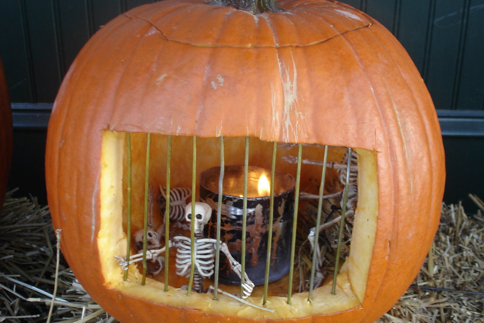 Carved pumpkin jail spooky stuff thatus cool and holloweenish