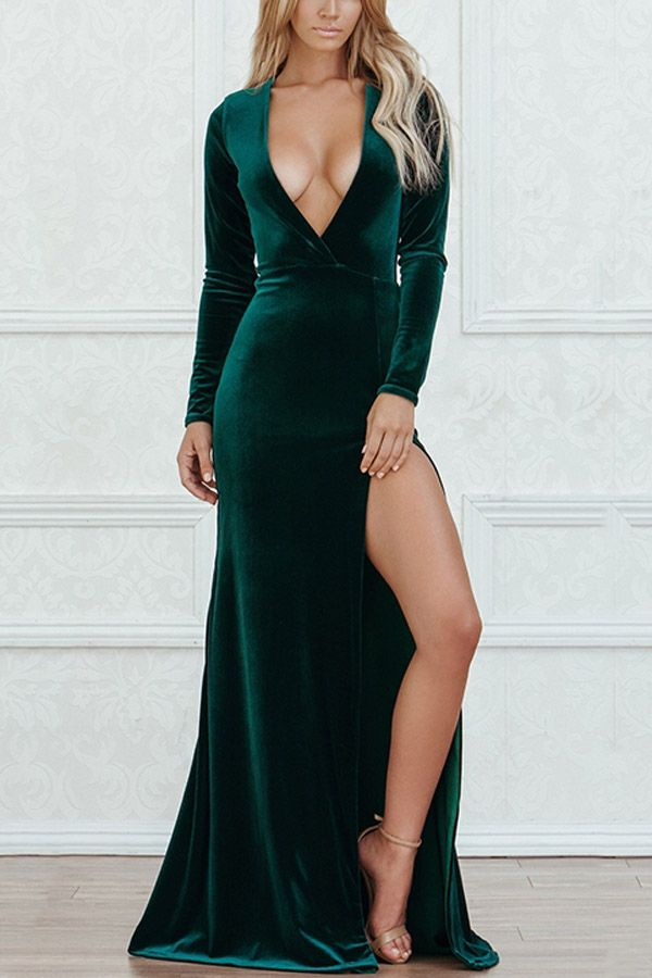 39833108 Dark Green V Neckline Long Sleeve Slit Sexy Dress |