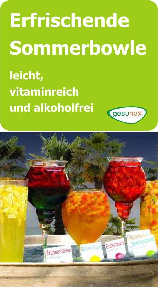 Eine Sommerbowle ist auch ganz ohne Alkohol eine absolut leckere Geschmacksvariation zu den üblichen Getränken. #sommer #erfrischung #alkoholfrei #rezept #bowle #getränke #vitamine #gesunex #vodkapunch