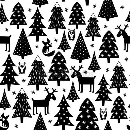 Stahnout Black And White Seamless Christmas Pattern Xmas Trees Houses Foxes Owls And Rei Christmas Pattern Background Christmas Pattern Christmas Mosaics
